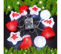 10 LED Home Christmas Party Light Décor Red&White