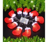 10 LED Home Christmas Stocking Party Light Décor Red