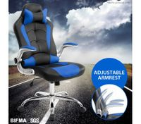 High Back Gaming and Racing Office Computer Chair - Black and Blue