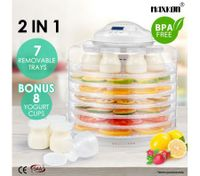 Maxkon 2-IN -1 Food Dehydrator Fruit Jerky Dryer Yogurt Maker White-7 Trays