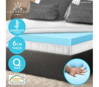 6 CM Bamboo Queen Cool Gel Memory Foam Mattress Topper Visco Elastic