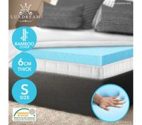 6 CM Single Size Bamboo Cool Gel Memory Foam Mattress Topper Underlay Cover