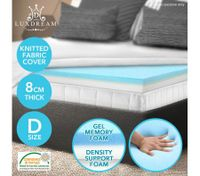 Double Size 8 CM Cool Gel Memory Foam Mattress Topper Visco Elastic