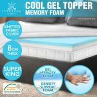 8 CM Super King Size Cool Gel Memory Foam Mattress Topper Cover Visco Elastic