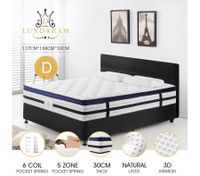 30cm Double Size Luxury Latex Pocket Spring Euro Top Mattress 5Zone