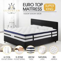 Super King Size Latex 30cm 5 Zone Mattress with Comfortable Euro Top