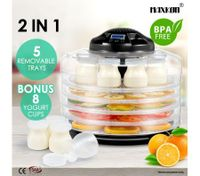 Maxkon 2-IN -1 Food Dehydrator Fruit Jerky Dryer Yogurt Maker Black-5 Trays