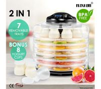 Maxkon 2-IN -1 Food Dehydrator Fruit Jerky Dryer Yogurt Maker Black-7 Trays
