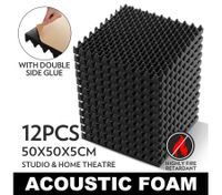 12 Eggshell Shaped Sound Stop Absorbing Treatment Acoustic Foam  size: 50 x 50cm with Glue