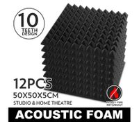 12 Sheet Acoustic Foam Panel Made with Fire Retardant Treatment Size: 50*50cm