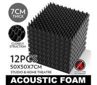12 Sheet Set Egg Shell Shaped Sound Absorbing and Proofing Acoustic Foam with 7cm Extra Thickness