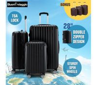 3Pc Luggage Suitcase set-Black With 3X Covers & TSA Lock
