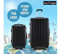 2Pc Hard Shell Luggage Suitcase Set-Black With TSA Lock