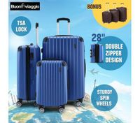 3Pc Luggage Suitcase set-Blue With 3X Covers & TSA Lock