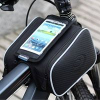Bicycle Bike Cycling Cell Phone Holder Frame Double Bag Case Pouch 4.7''