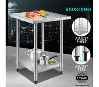 Stainless Steel Kitchen Food Prep Table-610mmx610mm