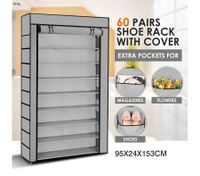 10 Tier Portable Shoe Rack with Woven Cloth Cover-60 Pairs-Silver/Grey