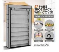 10 Tier Portable Shoe Rack with Non-Woven Cloth Cover-57 Pairs Silver/Grey
