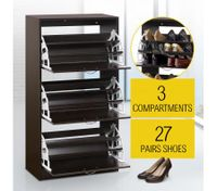 27 Pair Shoe Storage Cabinet-Walnut Finish
