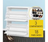 Large 18 Pair Shoe Storage Cabinet - White