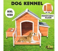 XXL Luxury Wooden Dog House with Removable Porch & Floor