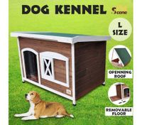 Large Flat Roof Wooden Dog House Kennel