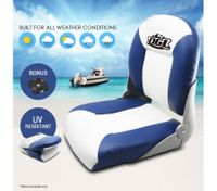 Premium OGL Boat Seat Folding & Swivel Blue/White