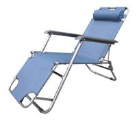 Reclining Sun Bed Beach Deck Chair with Padded Head Rest
