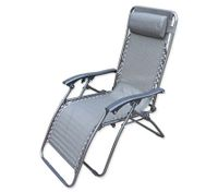 Reclining Sun Bed Beach Chair with Padded Head Rest - Grey