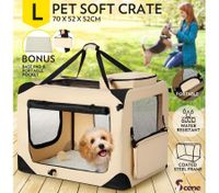 Portable Foldable Soft Dog Crate-Large-Beige