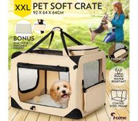 Portable Foldable Soft Dog Crate-XXL-Beige