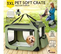 Portable Foldable Soft Dog Crate-3XL-Army Green