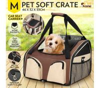 Portable Foldable Soft Covered Dog Crate-Medium-Light Brown/Beige