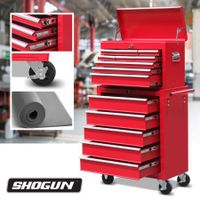 Red 14 Drawers Storage Tool Box with Ball Bearing Sliders