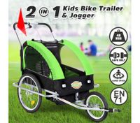 Kidbot 2 IN 1 Bicycle Trailer Pram Stroller Jogger-Green