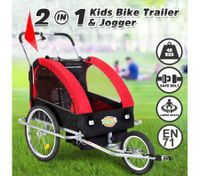 Kidbot 2 IN 1 Bicycle Trailer Pram Stroller Jogger- Red+Black
