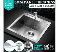 53x50cm Handmade Stainless Steel Kitchen Laundry Sink
