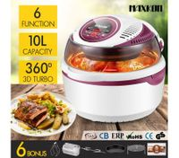 6in1 Portable 10L Digital Turbo Low Oil Air Fryer Convection Oven Cooker Peach