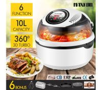 6in1  10L Digital Turbo Air Deep Fryer Convection Oven Cooker White