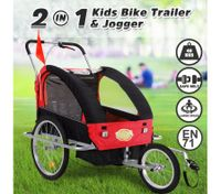 Kidbot 2 IN 1 Bicycle Trailer Pram Stroller Jogger- Black