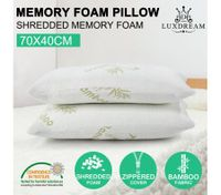 Luxdream 2x Pressure Relief Shredded Memory Foam Pillow Bamboo cover