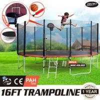 GENKI  16FT Trampoline FREE Basketball Set and Safety Net with Spring Pad Cover