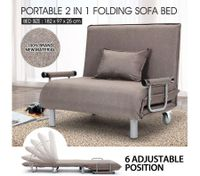 Portable Folding Rollaway Bed/Sofa with Mattress Taupe
