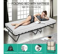 Portable Folding Camping Bed with Stripe Mattress Indoor/Outdoor -Single