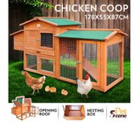 Wooden Chicken Coop Rabbit Hutch Guinea Pig Ferret Cage Hen House 2 Storey Run With Nesting Box