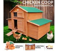 Wooden Chicken Coop Rabbit Hutch Guinea Pig Ferret Cage Hen House With 2 Nesting Box