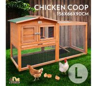 Large Size Wooden Chicken Coop Rabbit Hutch Guinea Pig Ferret Cage Hen House 2 Storey Run