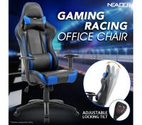 Black and Blue Height Adjustable PU Leather Computer Office Chair with Armrest
