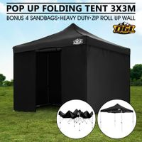 OGL 3x3M Pop Up Outdoor Folding Marquee Gazebo Party Tent Black