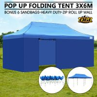 OGL 3x6M Pop Up Outdoor Folding Marquee Gazebo Party Tent Blue